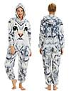 Tonåring Vuxna Kigurumi-pyjamas Katt Onesie-pyjamas Flanell Vit+Grå Cosplay För Herr och Dam Pyjamas med djur Tecknad serie Festival / högtid Kostymer