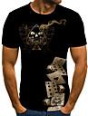 Hombre Camiseta Grafico 3D Tallas Grandes Estampado Manga Corta Diario Tops Basico Escote Redondo Negro