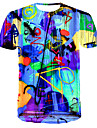 Men\'s T shirt Shirt 3D Print Graphic 3D Print Short Sleeve Daily Tops Streetwear Round Neck Rainbow / Club