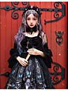 Glamorös & Dramatisk Gothic Lolita Shiro& Kuro Lolita Klänningar Cosplay Kostymer / Dräkter Dam Japanska Cosplay-kostymer Svart Seriefigurer Fjäril Dödskalle Spetsärmar 3/4 ärm Knälång