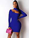 Women\'s Elegant Bodycon Dress - Solid Colored Black Fuchsia Blue S M L XL
