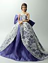 Dollklänning För Barbie Ensfärgat Spets Organza Klänning För Flicka Dockleksak