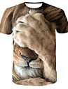 Men\'s T shirt Shirt 3D Print Graphic Tiger Animal Print Short Sleeve Daily Tops Streetwear Punk & Gothic Round Neck Yellow / Summer / Club