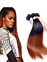 """3 paket Brasilianskt hår Rak Obehandlad hår Remy-hår Nyans Hårförlängningar av äkta hår 12""""~26"""" Flerfärgad Hårförlängning av äkta hår Naturlig Bästa kvalitet Afro-amerikansk peruk Människohår"""