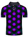 男性用 ゴルフシャツ テニスシャツ グラフィック 幾何学模様 3D プラスサイズ プリント 半袖 日常 トップの ベーシック シャツカラー パープル