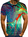 Men\'s T shirt Shirt Graphic 3D Plus Size Print Short Sleeve Daily Tops Basic Exaggerated Round Neck Rainbow / Sports
