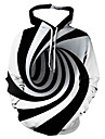 Men\'s Casual / Basic Hoodie - Striped / Geometric / 3D Hooded White S