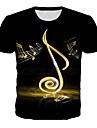 Men\'s Plus Size T-shirt Geometric 3D Graphic Print Short Sleeve Tops Basic Rock Round Neck Black / Summer / Club