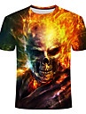 Ανδρικά Μπλουζάκι Πουκάμισο Γραφική 3D Νεκροκεφαλές Μεγάλα Μεγέθη Κοντομάνικο Καθημερινά Άριστος Στρογγυλή Λαιμόκοψη Ουράνιο Τόξο