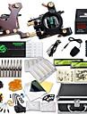 Tattoo Machine Professionell Tattoo Kit - 2 pcs Tatueringsmaskiner LCD strömförsörjning Fodral inkluderat 2 x gjutjärn tatuering maskin för linjer och skuggning