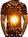 Men\'s T-shirt 3D Short Sleeve Tops Round Neck Orange
