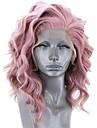 Syntetiska snörning framifrån Vågigt Sidodel Spetsfront Peruk Rosa Korta Rosa Syntetiskt hår 12-16 tum Dam Justerbar Värmetåligt Party Rosa