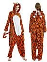 Vuxna Kigurumi-pyjamas Tiger Onesie-pyjamas Flanelltyg Orange Cosplay För Herr och Dam Pyjamas med djur Tecknad serie Festival / högtid Kostymer / Rand