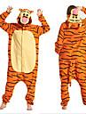 Vuxna Kigurumi-pyjamas Tiger Djurmönstrad Onesie-pyjamas Polär Ull Gul Cosplay För Herr och Dam Pyjamas med djur Tecknad serie Festival / högtid Kostymer