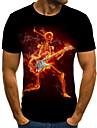 Ανδρικά Μπλουζάκι Πουκάμισο 3D Νεκροκεφαλές Φλόγα Μεγάλα Μεγέθη Κουρελού Στάμπα Κοντομάνικο Καθημερινά Άριστος Βασικό Κομψό στυλ street Στρογγυλή Λαιμόκοψη Μαύρο