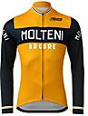 男性用 長袖 サイクリングジャージー 冬 ポリエステル ブラック / オレンジ バイク ジャージー パンツ トップス マウンテンサイクリング ロードバイク UV耐性 高通気性 速乾性 スポーツ 衣類 / 伸縮性あり