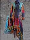 Women\'s Daily Regular Coat, Geometric V Neck Long Sleeve Polyester Purple / Orange / Yellow