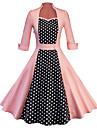 Audrey Hepburn Vintage-inspirerad Klänningar Dam Spandex Cotton Kostym Vin / Purpur / Rodnande Rosa Vintage Cosplay Dagliga kläder Halvlång ärm Midi