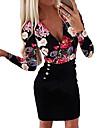 Women\'s Plus Size Bodycon Dress - Floral Print Button Print Deep V Black White Blue S M L XL