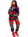 Women\'s 2 Piece Tracksuit Sweatsuit Streetwear Street Casual Long Sleeve Windproof Breathable Soft Fitness Running Jogging Sportswear Camo Hoodie Track pants Camouflage Activewear Micro-elastic