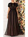 A-Line Jewel Neck Floor Length Chiffon Elegant Prom Dress 2020 with Appliques / Pleats