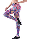 Dam Hög midja Yoga byxor 3D Print Violet t Ljusblå Svart / röd Himmelsblå+Vit Blå+Rosa Elastan Löpning Fitness Gym träning Cykling Tights Leggings Sport Sportkläder Snabb tork Butt Lift Magkontroll