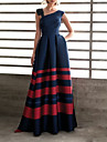 A-Line Y Neck Floor Length Satin Color Block Formal Evening Dress 2020 with Beading / Appliques / Ruched