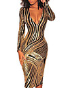 Women\'s Sheath Dress Knee Length Dress Gold Long Sleeve Striped Glitter Deep V Hot Elegant Sexy Going out 2021 S M L XL / Slim