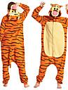 Adulto Camuflagem Pijamas Kigurumi Vestuario de Noite Tiger Animal Pijamas Macacao La Polar Laranja Cosplay Para Homens e Mulheres Pijamas Animais desenho animado Festival / Celebracao Fantasias