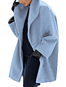 Women\'s Daily Fall & Winter Long Coat, Solid Colored Turndown Long Sleeve Polyester Black / Light Blue / Purple