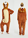 Adults\' Kigurumi Pajamas Lion Onesie Pajamas Flannel Fabric Brown Cosplay For Men and Women Animal Sleepwear Cartoon Festival / Holiday Costumes