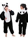 Barn Kigurumi Kigurumi-pyjamas Panda Djurmönstrad Onesie-pyjamas Flanell Svart / Vit Cosplay För Pyjamas med djur Tecknad serie Festival / högtid Kostymer