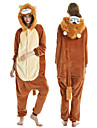 Adults\' Kigurumi Pajamas Lion Onesie Pajamas Flannel Brown Cosplay For Men and Women Animal Sleepwear Cartoon Festival / Holiday Costumes