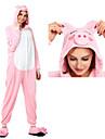 Vuxna Kigurumi-pyjamas Gris Onesie-pyjamas Flanell Rosa Cosplay För Herr och Dam Pyjamas med djur Tecknad serie Festival / högtid Kostymer