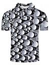 男性用 ゴルフシャツ テニスシャツ グラフィック 3D プラスサイズ 半袖 日常 トップの ベーシック 誇張された シャツカラー グレー