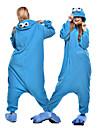 Vuxna Kigurumi-pyjamas Tecknat Monster Cookie Anime Djurmönstrad Onesie-pyjamas Polär Ull Blå Cosplay För Herr och Dam Pyjamas med djur Tecknad serie Festival / högtid Kostymer