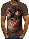 Men\'s T shirt Graphic 3D Animal Plus Size Print Short Sleeve Daily Tops Streetwear Exaggerated Black Brown