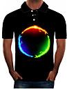 男性用 ゴルフシャツ テニスシャツ グラフィック 3D プラスサイズ 半袖 日常 トップの ストリートファッション 誇張された シャツカラー ブラック