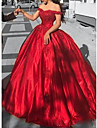A-Line Off Shoulder Court Train Lace / Satin Elegant Formal Evening Dress 2020 with Crystals / Lace Insert by Lightinthebox