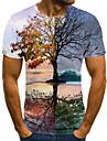 Homens Camiseta Camisa Social 3D Estampado Manga Curta Diario Blusas Decote Redondo Arco-iris