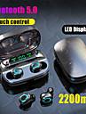 litbest s11 tws真のワイヤレスイヤホンbluetooth 5.0ヘッドフォン2200mahスマートフォン用モバイル電源LEDバッテリーディスプレイタッチコントロールipx5防水スポーツフィットネスイヤホン