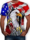 男性用 Tシャツ グラフィック 3D プリント 半袖 日常 スリム トップの ラウンドネック ルビーレッド