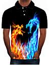 Męskie Koszula golfowa Koszula tenisowa Graficzny 3D Puszysta Krótki rękaw Codzienny Szczupła Najfatalniejszy Moda miejska Przesadny Kołnierzyk koszuli Czarny