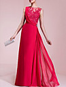 A-Line Jewel Neck Floor Length Chiffon / Lace Beautiful Back Formal Evening Dress 2020 with Crystal Brooch / Lace Insert