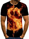Men\'s Plus Size T-shirt 3D Short Sleeve Tops Basic Round Neck Rainbow