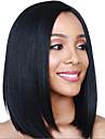 Syntetiska peruker Rak Asymmetrisk frisyr Peruk Medium längd Svart Syntetiskt hår 15 tum Dam Bästa kvalitet Svart