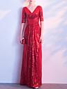 Sheath / Column V Neck Floor Length Sequined Elegant Prom / Formal Evening Dress 2020 with Sequin / Ruched