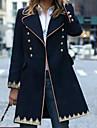 Women\'s Daily Winter Regular Coat, Geometric Peaked Lapel Long Sleeve Polyester Navy Blue