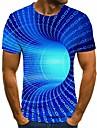 Men\'s Plus Size T-shirt 3D Graphic Short Sleeve Tops Basic Round Neck Blue Purple Yellow