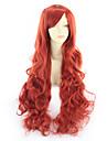 Syntetiska peruker Lockigt Asymmetrisk frisyr Peruk Väldigt länge Stor Syntetiskt hår 31 tum Dam Röd
